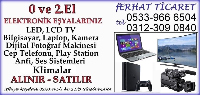 Ankara İkinci El TV,Bilgisayar,Playstation,Fotoğraf Makinesi,Kamera,Elektronik,Anfi Alım Satım Mağazası